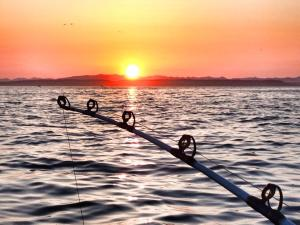 Flat waters and a beautiful sunrise on opening morning of halibut fishing season in Washington's inner waters.