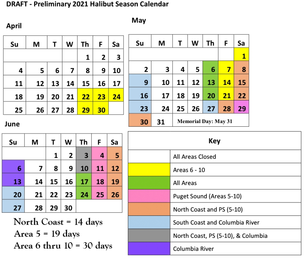 2021 Washington Sport Halibut Season